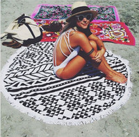 Wholesale 11 patterns CM CM Polyester Beach Towel Bath Towels Tassel For Summer Large c Printed Big Round Circle