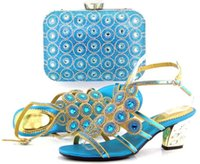 beautiful knots - VIVILACE TH16 sky blue Beautiful pu leather shoes matching with handbag sets for party lady African sandal and bag