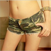 Wholesale Hot sale New Sexy Women s Camouflage Jeans Short women s pants Hot Trousers Beach Shorts fashion Tassel Hole Low waist pants