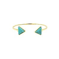 bangles designs - Turquoise open adjustable bangles for women gold plated Bracelets Fashion New design color Triangle Turquoise Bangles Jewelry for gifts