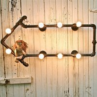 antique bookshelf - Creative Vintage Industial Wall Lamps Loft Water Pipe Wall Light Nostalgic Antique Industrial Bookshelf Bracket Lamp