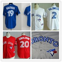 Wholesale 2016 Men s Mlb Baseball jerseys oronto Blue Jays Tulowitzki Bautista Donaldson High quality Traditional embroidery technics