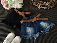 Wholesale summer kids shorts girls shorts Hole Tassel denim shorts With Belt Kids clothing Blue Black