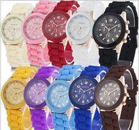 Cheap Luxury Mens-watches Women Men Geneva Watch Rubber Candy Jelly Fashion Unisex Silicone Quartz Wrist watches For Men Women Wristwatch