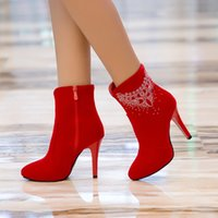 age boots - 2017 New age season waterproof frosted diamond high heeled boots red wedding boots