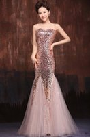 Wholesale Trumpet Mermaid Sweetheart Floor length Natural Waistline Formal Occasion Sequined Prom Dress Evening Party Cocktail Dresses