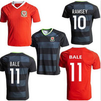 aaron sports - 2016 Wales National Football Shirt home Red soccer jersey GARETH BALE AARON RAMSEY Wales away black sports jerseys soccer wear