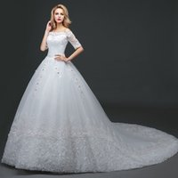 Wholesale Luxury Wedding Dress Bride Princess Romantic Boat Neck Three Quarter Lace Embroidery Elegant Wedding Gown