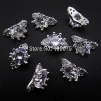 Wholesale 10pcs Silver glitter zircon rings for nail art decoration d nail jewelry charms supplies YNS42 ring member