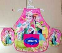 Wholesale hot frozen elsa anna Aprons and oversleeves piece set suits Despicable me Aprons kids water proof apron mum s cartoon cooking smock
