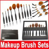 Wholesale Oval Makeup Brushes Set Blending Brush Multipurpose Mermaid Toothbrush Foundation Powder Soft Face Brushes Professional Makeup Tools