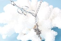 Wholesale Alice in Wonderland Inspired Charm Necklace White Rabbit Necklace in silver