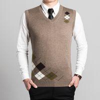 argyle sweater vests men - Latest style fashion design V neck sleeveless mens argyle wool sweater vest