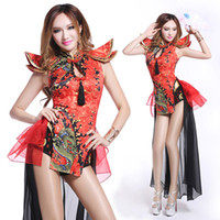 belly dancer clothes - new sexy bodysuit Ds costume vintage Chinese style sexy dj female singer performance wear twirled clothing dancer show bar