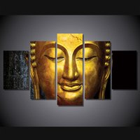 Wholesale 5 Set HD Printed The golden Buddha Painting Canvas Print room decor print poster picture wall art canvas