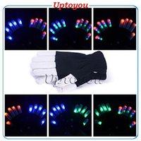 Wholesale LED Flashing Finger Lighting Gloves light up for Clubbing Rave Party favor music concert Christmas Festival and show Halloween Accessory