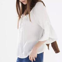 batik fabric designs - Brand design lace up white pleated fabrics V neck Summer blouses three quarter sleeve loose blouse women shirt tops MM8057