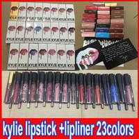 Wholesale Latest KYLIE JENNER LIP KIT liner Kylie Lipliner pencil Velvetine Liquid Matte Lipstick in Red Velvet Makeup Lip Gloss Make Up colors