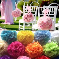 artificial green roses - Many colors Becautiful Artificial Silk Flower Rose Balls Wedding Centerpiece Pomander Bouquet Party Decorations Hot sale