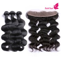 Wholesale 7A Virgin Hair Unprocessed Malaysian Body Wave Lace Frontal Closure With Hair Bundles Cheap x2 Lace Frontal With Hair Bundles
