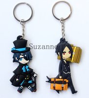 animated keys - 100 fashion lovely Animated cartoon Black Butler Sebastian PVC Rubber Key Chain Anime Licensed NEW