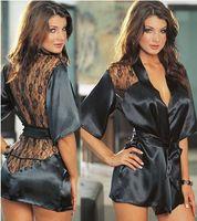 Wholesale Black Color Silk Satin Sleepwear Sexy Lingerie Sets Kimono Intimate Robe Night Gown Women Lady Underwear Plus Size Cheap Price