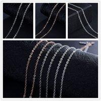 925 / chaîne d'or en or blanc / Rose 1mm O Chaîne de 20 pouces Collier Fit pendentif bricolage Colliers cadeau de Noël XZS-O01