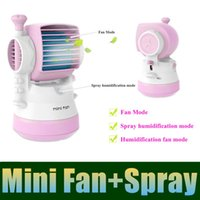 Wholesale Mini Fan With Spray Humidifier USB Battery Dual use Conditioned Fan Bladeless Fan Desktop Fan Multipurpose And Portable