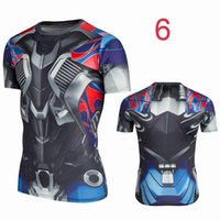Wholesale New Movie Tops Short Sleeve Shirts SuperHero Tops Anti Shrink Well fitted Quick Dry Bike Wear Compressed Cycling Jerseys Sports Tops