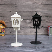 art lanterns - Cheap D9 H23CM Metal candle holder Small Iron classic lantern White Black Color Valentine gift