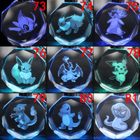 amethyst car pendant - 171 styles poke LED key rings Pokémon Pikachu crystal keychains cute cartoon pendant car key chain bright glass key rings shinny key ring