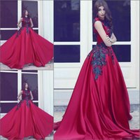 Cheap 2017 Dark Red Formal Evening Dresses O Neck Sleeveless Appliques Sequins Beaded Satin Long Black Arabic Dresses Ball Gown Prom Dresses