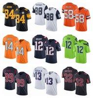 Wholesale Broncos Von Miller Patriots Tom Brady Steeler Antonio Brown Black Dez Bryant Navy Blue Rush Jerseys Raiders Cooper Jerseys