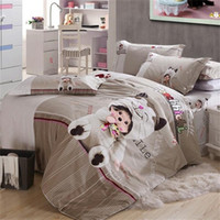 bedsheets for sale - Cute Bear Doll Grey Monchhichi Bedding Sets for Queen Size Bed Cotton Duvet Cover Bedsheets Pillowcase Bedroom Sets on Sale