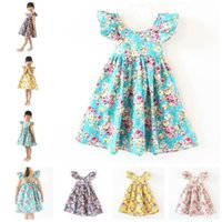 Wholesale floral beach Dress Girls Summer backless halter princess dresses Kids Clothes Children Clothing Baby Toddler flower ruffle dress