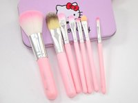 Wholesale Cheap Boxes Hair - Hello Kitty Professional Makeup Brushes Set 7pcs Pink Black Brand Cosmetics Kits Make Up Brush with Iron Metal Box Cheap DHL Free Ship