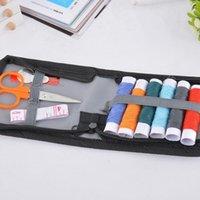 bag sewing tape - 1Set Sewing Kit Portable Needles Scissor Thread Tape Measure Handcraft DIY Black Storage Bag