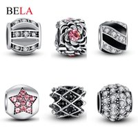 Wholesale Beads Silver Plated CZ Diamond Charms Clear Crystal Bead Fit Original Pandora Bracelet Bangle Authentic Jewelry Making