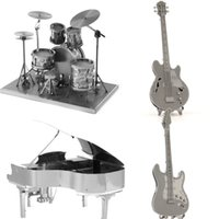 bass guitar scales - Musical Instruments D jigsaw puzzles for kids New Drums piano Master Guitar Bass D Nano metal DIY scale Model for adults