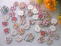 al por mayor prendas de vestir botones-150pcs Lucky estilo de la flor 25mm Natural Con mixtos patrones impresos botones de madera botones de costura Accesorios de ropa Para Botões M66215