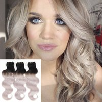 bell machines - 8A ombre B Grey Brazilian Body Wave Human Hair Two Tone Ombre Grey Cheap Weave Bell Queen Hair