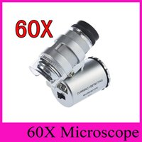 Los microscopios de la joyería del joyero del microscopio 60X de la lupa de 60 x Mini lupas Lupas de bolsillo con estuche de piel de luz LED + 2016 ventas calientes