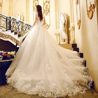 Wholesale 2016 Summer New word Shoulder Lace Trailing Wedding CustomLlinen Qi Wedding Dress High Temperament Female B