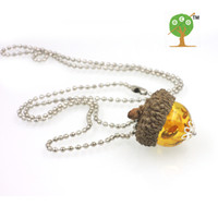 acorn caps - 2016 NEW REAL PINE ACORN necklace woodland charm necklace ACORN CAP REAL FOREST NATURAL PENDENT NECKLACE NW110