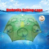 cast net - Strengthened hole fishing umbrella cage Nylon Foldable Crab Fish Trap Cast Net Cast Folding Fishing Network hot sale