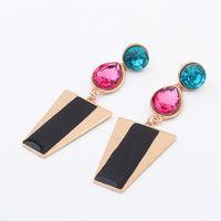 big cross earrings - Canlyn Jewelry Imitation Crystal Enamel Big Trapezoid Long Stud Earrings for Women Brincos CE064