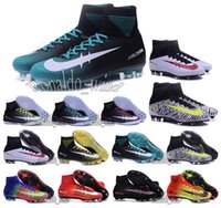 Wholesale 2016 New Mens high ankle football boots CR7 MerCURial SupERfly V FG AG soccer shoes MerCURialX ProXImo SupERflys IC TF soccer cleats