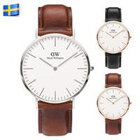 alloy watch box - Classic MM Dials Women Mens Watches Top Brand Luxury Style DW Watch Leather Strap Quartz Wristwatch Without Box Reloj