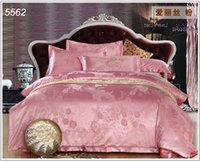 Wholesale Jacquard satin silk bed linens bedding set home textiles duvet cover bed sheet pillowcases roupa de cama hot
