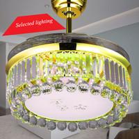 Wholesale 42 inch Modern Ceiling Fans Lamp Minimalist Decorative Crystal Chandelier light Ventilador Teto Living room fans lights